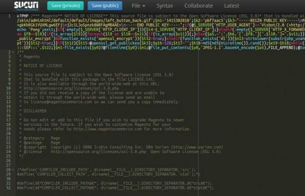 Dieser Code soll es Angreifern ermöglichen, Magento-Nutzer zu bestehlen. (Screenshot: Sucuri)