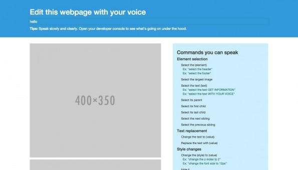 Mit say_resytle.js verändert ihr Webseiten per Sprachbefehl. (Screenshot: say_resytle.js-Demo)