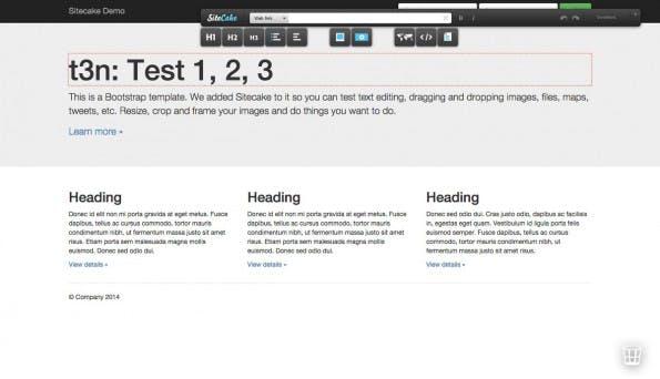 Mit Sitecake bearbeitet ihr Websiten per Drag-&-Drop direkt im Browser. (Screenshot:  Sitecake Live-Demo)