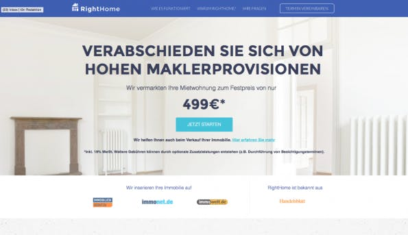Das neue Rocket-Startup: RightHome. (Screenshot: t3n)