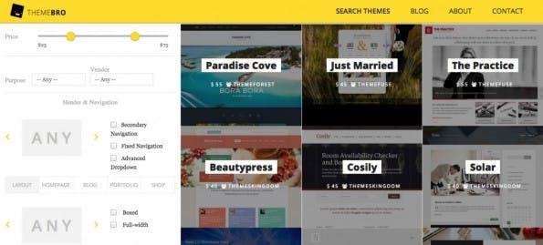 ThemeBro liefert eine simple Suchmaschine um schicke WordPress-Themes zu finden. (Screenshot: ThemeBro)