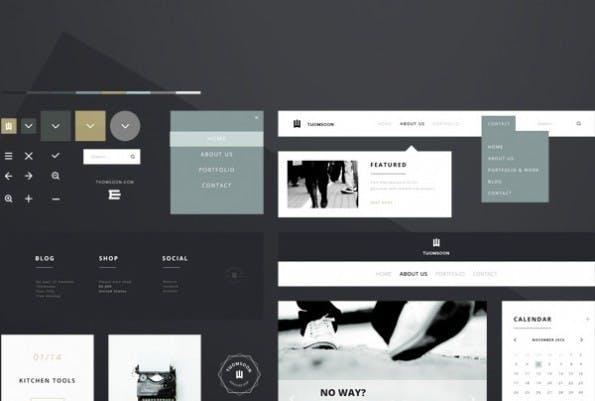 """Clean white"" – UI-Kit von Tomasz Mazurczak. (Screenshot: Behance)"