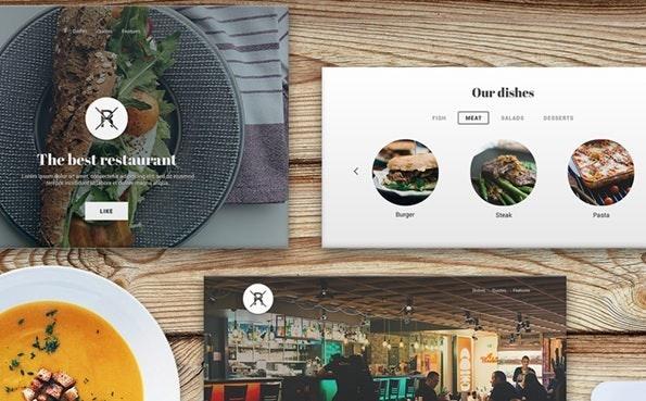 Ein UI-Kit für Landingpages von Restaurante. (Screenshot: Behance)