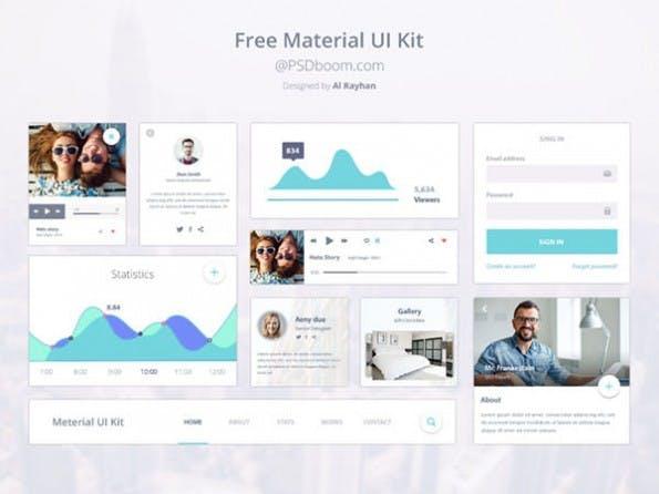 """""""Free Material UI-Kit"""" von Al Rayhan im Material Design. (Screenshot: PSDboom)"""