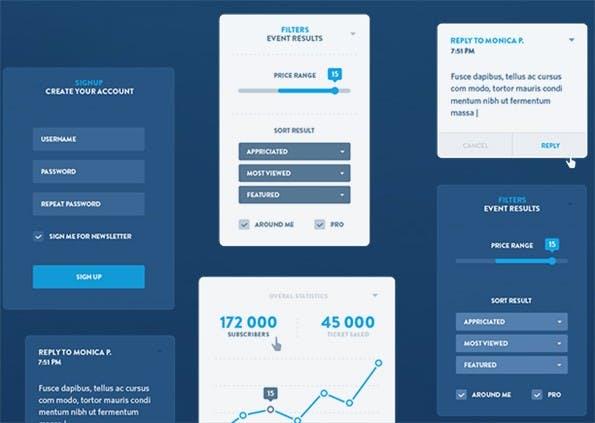 Umfangreiches UI-Kit unter anderem auch mit einem Timeline-Design. (Screenshot: http://dtailstudio.com)