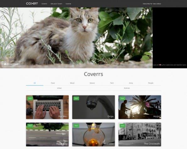 Auf Coverr.co finden sich Gratis-Videos für die Website-Gestaltung. (Screenshot Coverr)