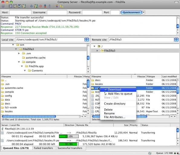 FileZilla ist ein Urgestein der FTP-Clients, zurecht! (Screenshot: filezilla-project.org)