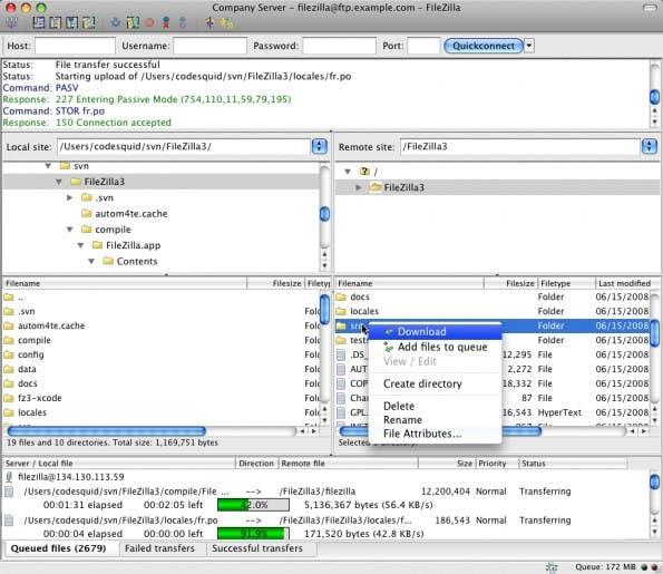 FileZilla ist ein Urgestein der FTP-Clients, zurecht! (Screenshot: filezilla-project.org)