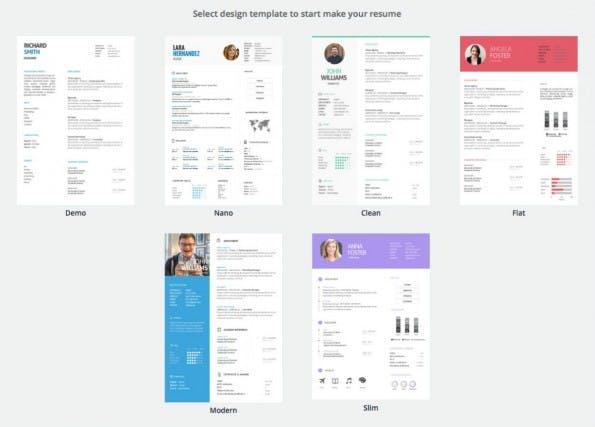 Diese Lebenslauf-Vorlagen stehen bei JobCV zur Verfügung. (Screenshot: JobCV)