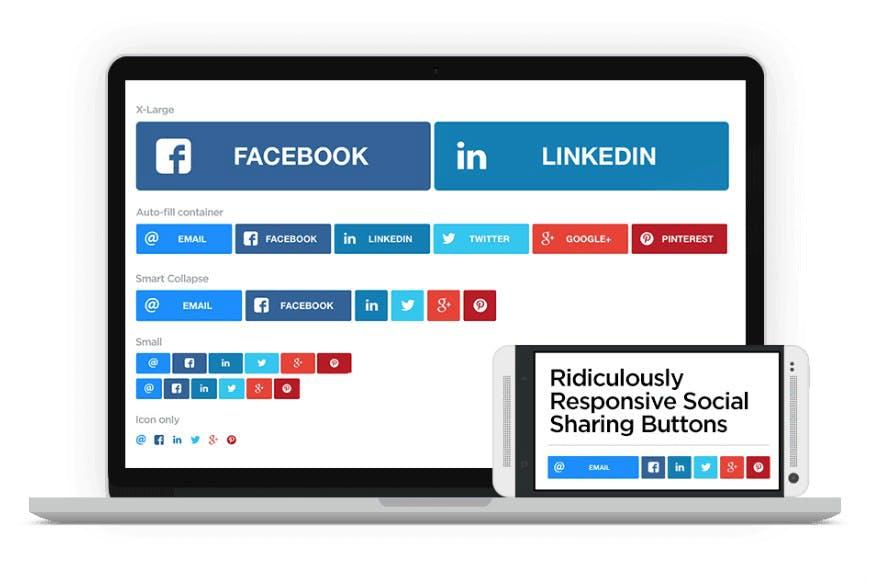 Schicke kostenlose Social-Media-Buttons im Responsive Design für deine Website