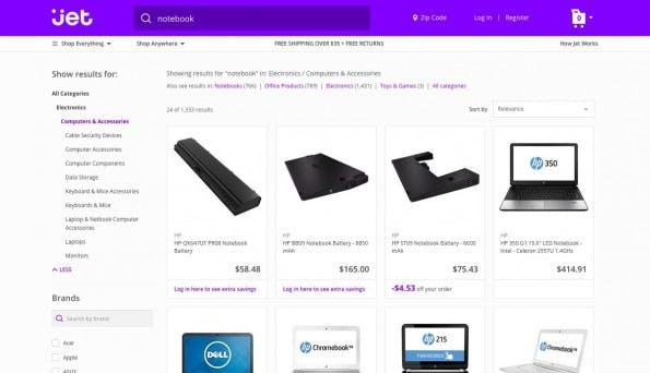 Amazon-Alternative: Jet.com geht in den USA an den Start. (Screenshot: Jet.com)