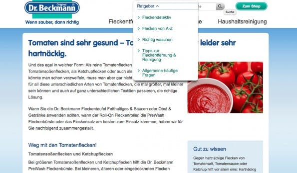 content marketing beispiele dr.beckmann