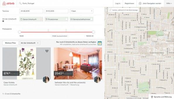 Airbnb: Hier findet ihr Unterkünfte in vielen Regionen der Welt. (Screenshot: Airbnb)