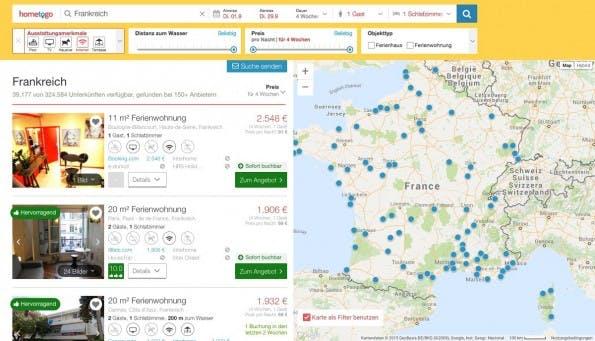HomeToGo: Die deutsche Meta-Suchmaschine findet für euch Wohnungen auf verschiedenen Portalen. (Screenshot: HomeToGo)