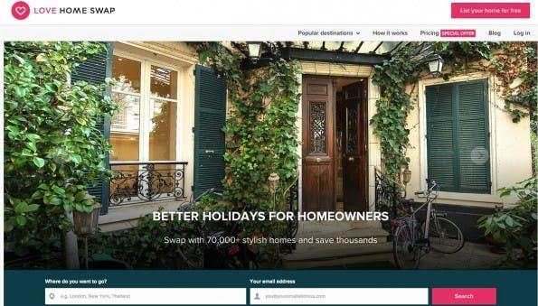 Über LoveHomeSwap könnt ihr eure Wohnung gegen die eines anderen Tauschen. (Screenshot: LoveHomeSwap)