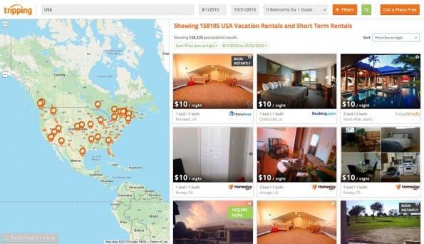 Digitale Nomaden: Auch Tripping durchsucht für euch verschiedene Portale. (Screenshot: Tripping)