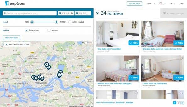 Unterkünfte für digitale Nomaden: Trotz des Namens richtet sich Uniplaces nicht nur an Studenten. (Screenshot: Uniplaces)