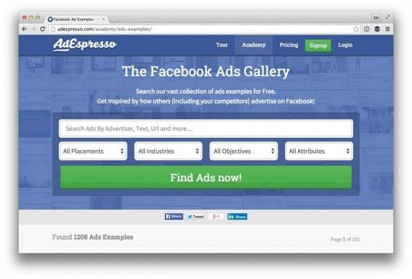 """Die """"Facebook Ads Gallery"""" lässt sich einfach auf vier Kriterien filtern. (Screenshot: adespresso.com/ t3n.de)"""