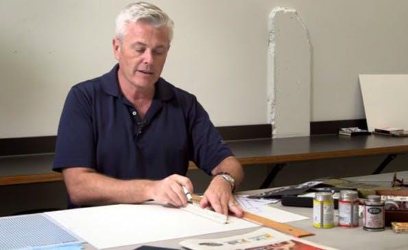 Sean Adams zeigt, wie Grafik-Design aussah, bevor es Photoshop gab. (Screenshot: Lynda-YouTube)