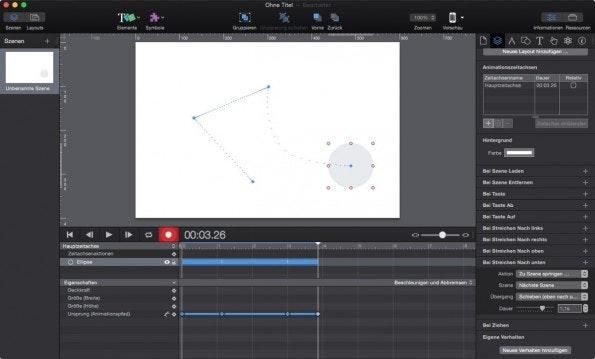 Beispiel einer Bewegungs-Animation in Hype 3. (Screenshot: Hype 3)