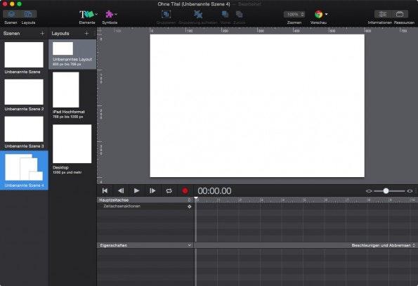 Layouts in Hype 3 Pro. (Screenshot: Hype 3)