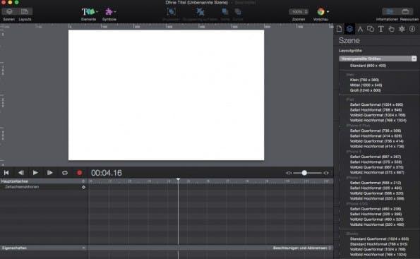Mit Hype 3 eine Leinwand-Größe auswählen (Screenshot: Hype 3)