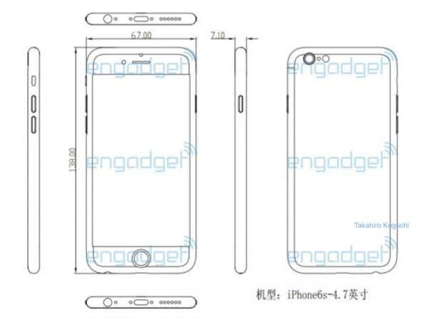 Angebliche Baupläne für das iPhone 6s geleakt. (Bild: Engagdet Japan)