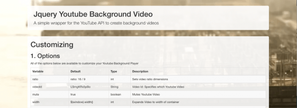 jQuery Youtube Background Video