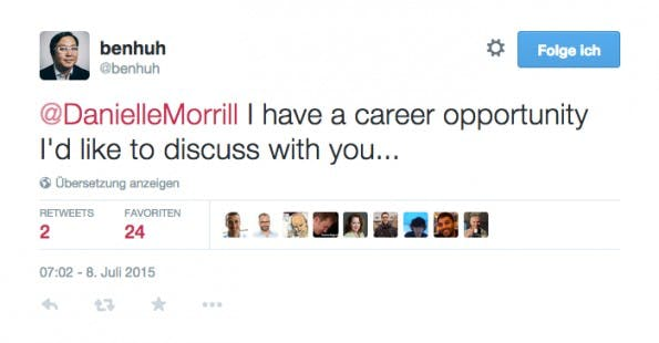 Mit ihren Katzen-GIFs für Startup-Gründer hat Danielle Morrill schon die Aufmerksamkeit von Ben Huh (I Can Has Cheezburger) gewonnen. (Screenshot: Twitter)