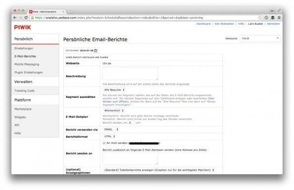 E-Mail-Reports lassen sich in Piwik über das Nutzermenü anlegen. (Screenshot: Piwik/ t3n.de)
