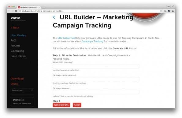 Der URL-Builder von Piwik. (Screenshot: Piwik/ t3n.de)