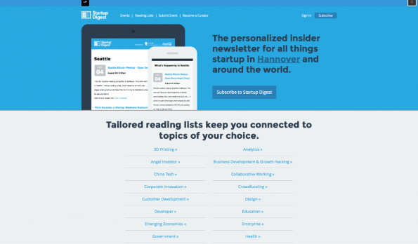 Personalisierte News erhalten Gründer mit dem Startup Digest. (Screenshot: t3n)