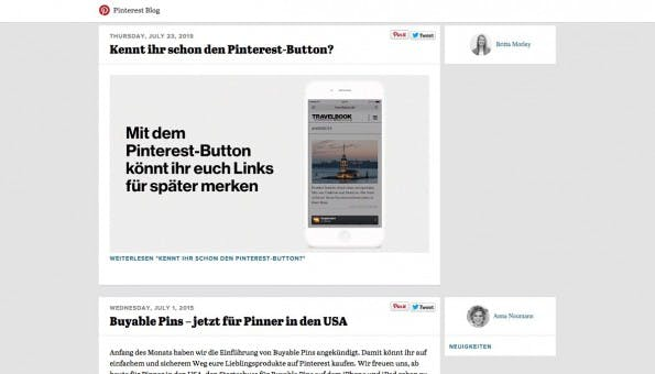 Gelungene Unternehmensblogs: Pinterest. (Screenshot: Pinterest)