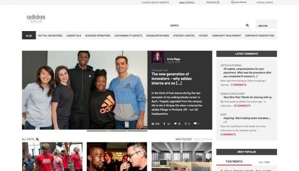 Gelungene Unternehmensblogs: Adidas-Gruppe. (Screenshot: Adidas Group)