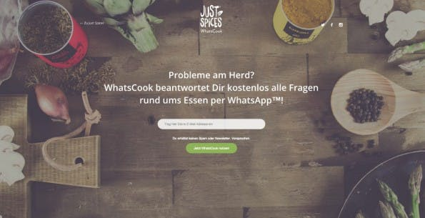 Rezepte per WhatsApp: Das Startup Just Spices erprobt eine neue Form der Kundenbindung. (Screenshot: justspices.de/whatscook)