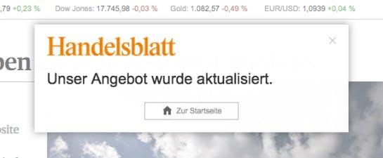 Pop-up auf Handelsblatt.de  (Screenshot: Konversionskraft )