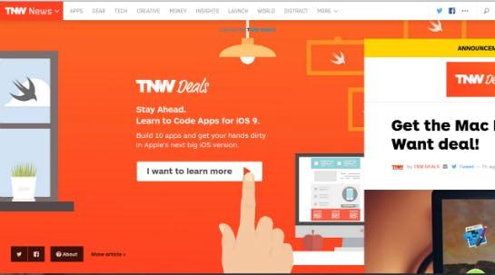 Pop-up auf thenextweb.com  (Screenshot: Online Marketing Rockstars)