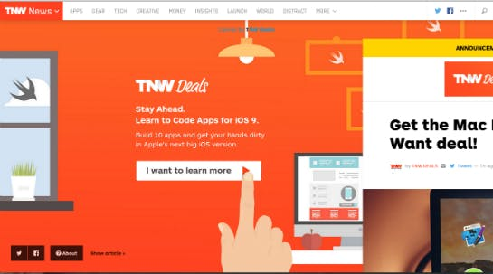 Pop-up auf thenextweb.com  (Screenshot: Online Marketing Rockstars)