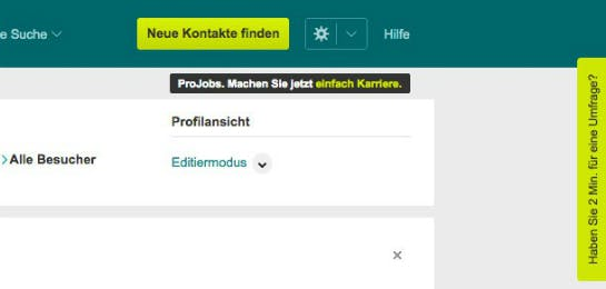 Pop-up auf Xing.de  (Screenshot: Konversionskraft )