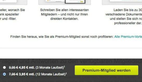 Pop-up auf Xing.de  (Screenshot: Konversionskraft )