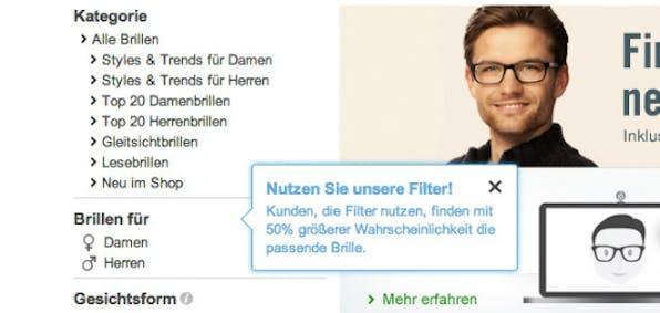 Pop-up auf misterspex.de  (Screenshot: Konversionskraft )