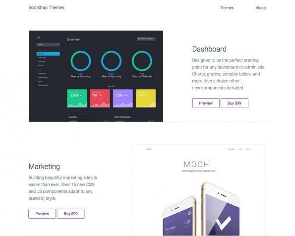 Die Bootstrap-Macher verkaufen jetzt auch eigene Themes. (Screenshot: themes.getbootstrap.com)