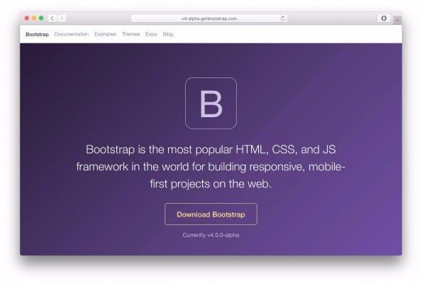 Bootstrap 4 ist derzeit in der vierten Alpha-Version verfügbar. (Screenshot: Bootstrap)