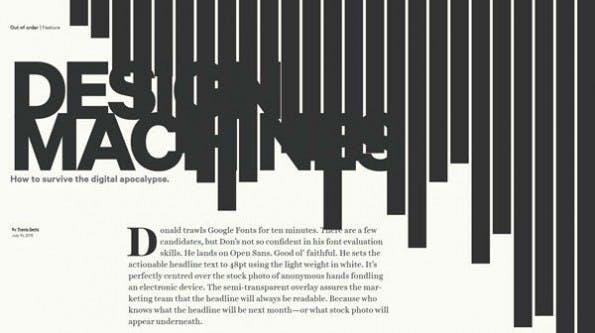Designmaschinen: Visuell gut aufbereiteter Artikel von Travis Gertz (Screenshot: Louder Than Ten)