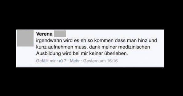 Derartige Hetze überflutet derzeit Facebook. Der Verfasserin kostete der Kommentar jetzt ihren Job. (Screenshot: Facebook)