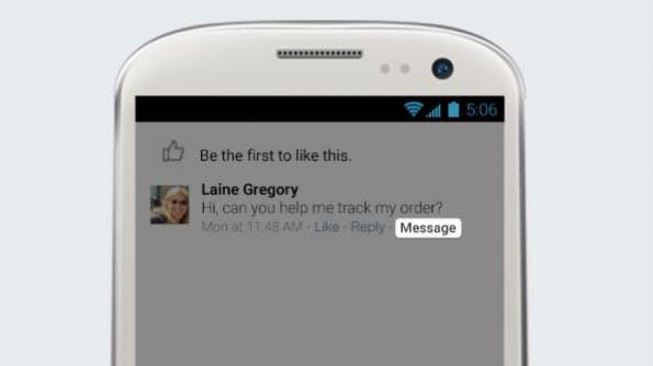 Die neue Message-Funktion wird unterhalb eines Beitrags auf der Facebook Page angezeigt. (Bild: Facebook)