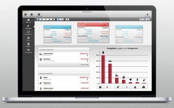 Richtig nützlich ist ein digitales Haushaltsbuch erst, wenn man es als mobile App und als Desktop-Software nutzen kann. (Screenshot: MoneyControl)