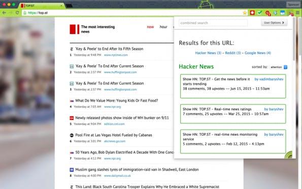 Kiwi Conversations: Die Browser-Erweiterung sagt euch, ob es relevante Diskussionen zu einer Webseite auf Hacker News oder Reddit gibt. (Screenshot: Kiwi Conversations)
