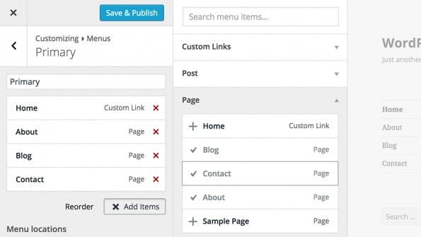 Menüs könnt ihr ab WordPress 4.3 direkt im Customizer verändern. (Screenshot: WordPress)