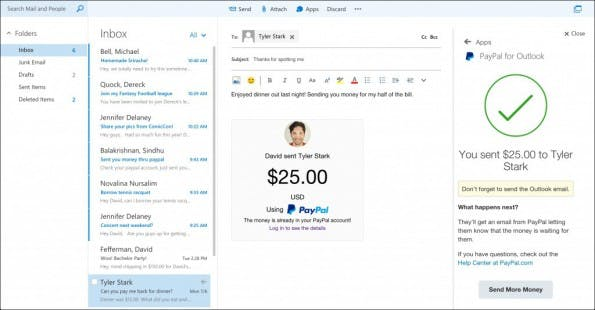 So funktioniert die PayPal-Integration Microsoft Outlook. (Screenshot: The Next Web)
